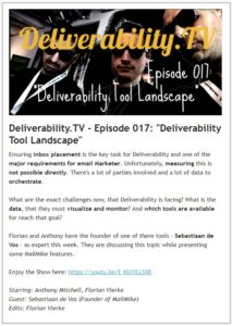 Sample newsletter from Deliverability.TV